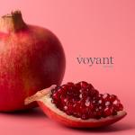 pomegranate on pink background