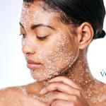 sugar scrub on woman's face